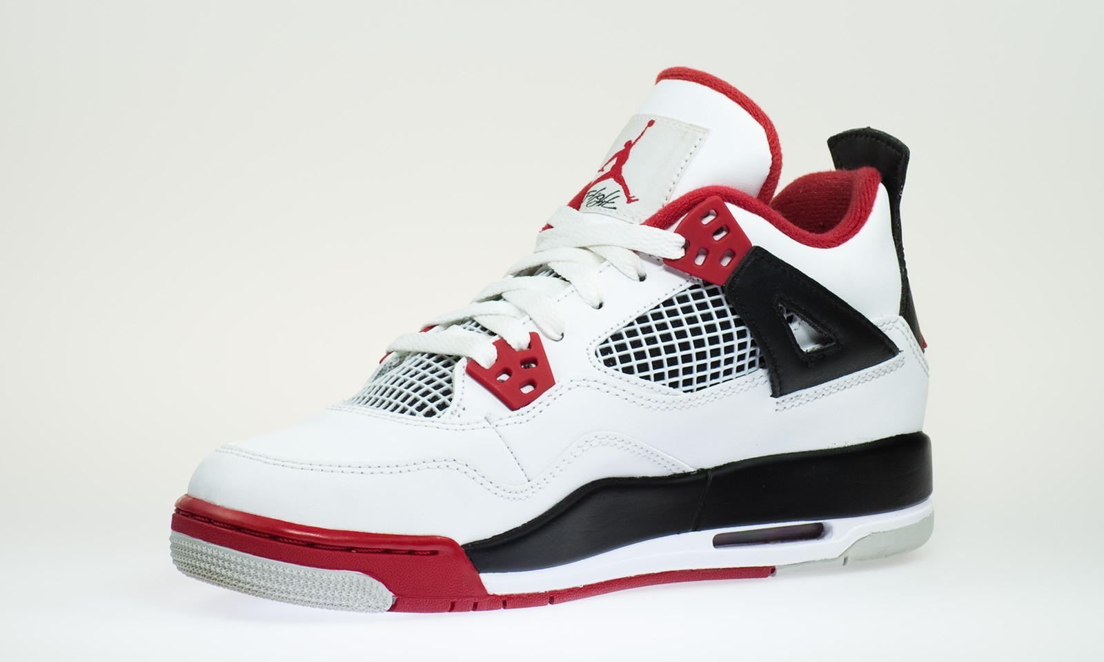 Air Jordan 4(IV) Retro - GS - White Varsity Red Black Basketball Shoes 408452-110