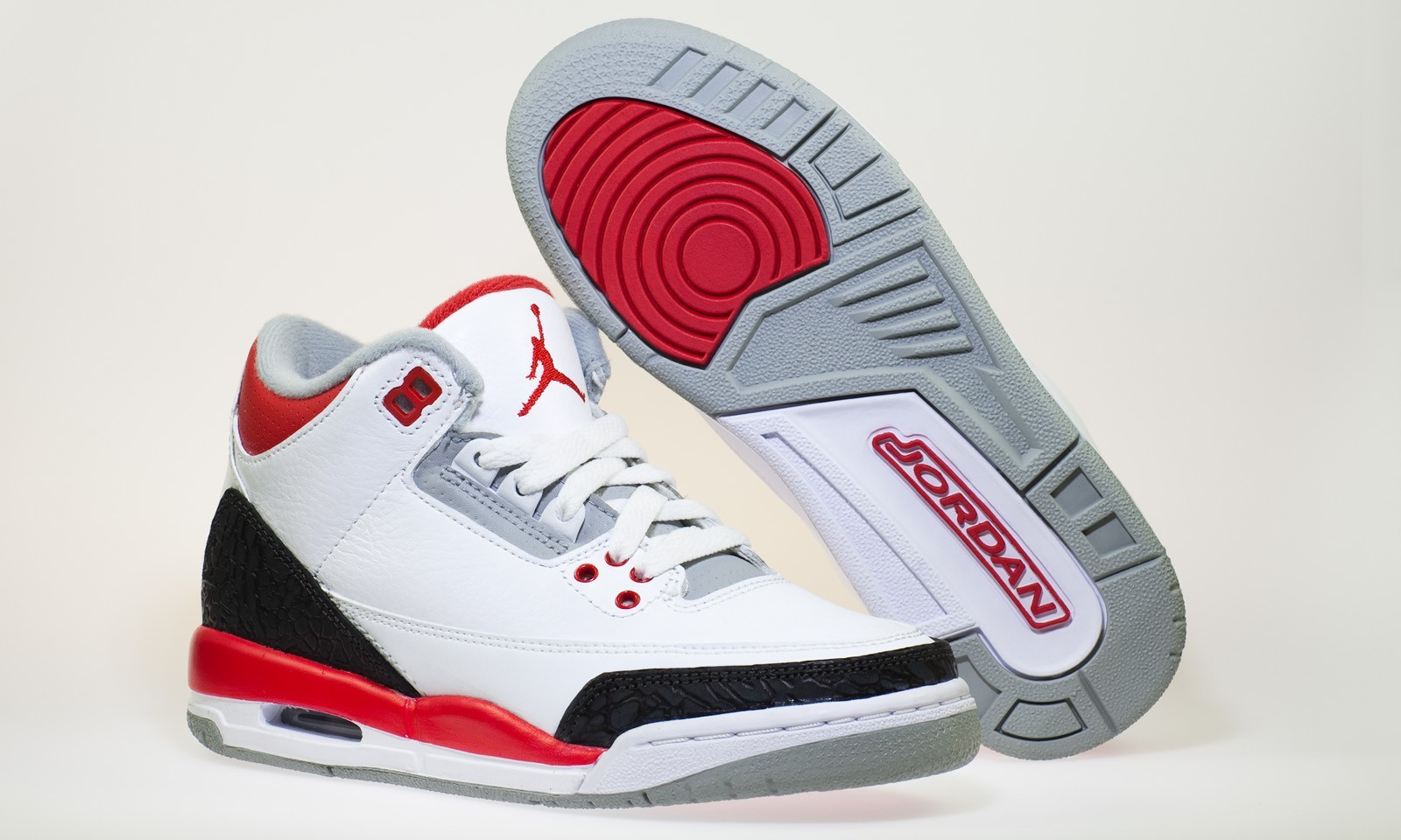 37ab5cfb5b9116 Shop Air Jordan Retro 3(III) White Fire Red Neutral Grey Black Mens ...