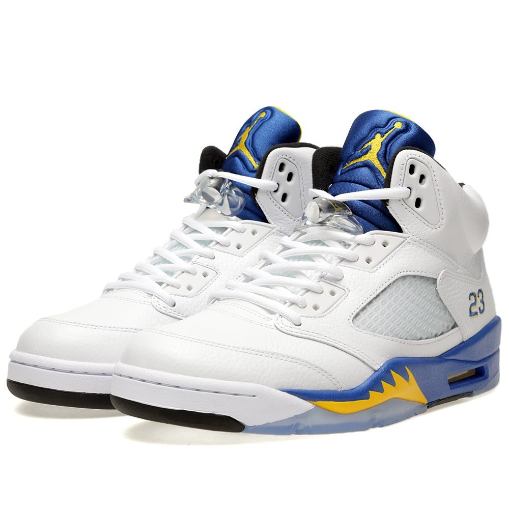 Air Jordan 5(V) Retro 'Laney' White and Varsity Maize 136027-189 Mens Basketball Shoes