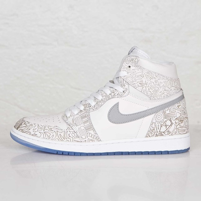 Air Jordan 1(I) Retro Hi OG Laser White and Metallic Silver 705289-100 Mens Shoes/Sneakers