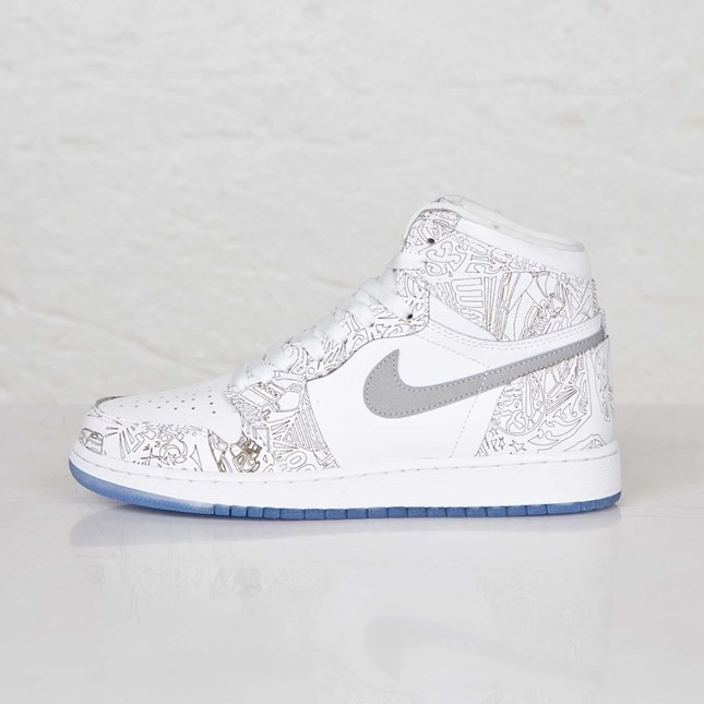 Air Jordan 1(I) Retro Hi OG Laser - GS - White Metallic Silver Shoes 705290-100