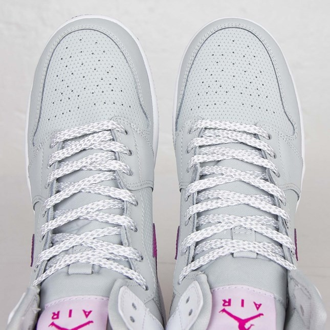 Air Jordan 1(I) Retro 1 High - GS - Grey Mist Fuchsia Flash White Black Shoes 332148-018