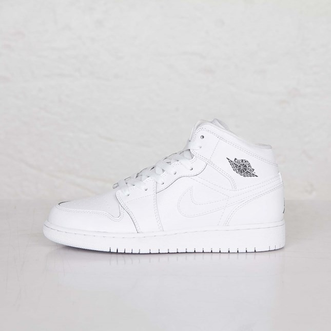 Air Jordan 1(I) Mid - GS - White Cool Grey White Shoes 554725-102