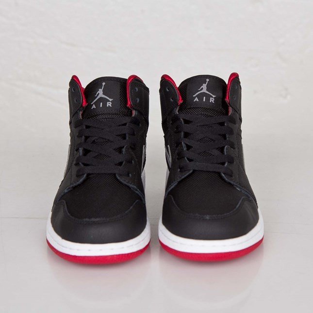 Air Jordan 1(I) Mid - GS - Black Cool Grey Gym Red Shoes 554725-034