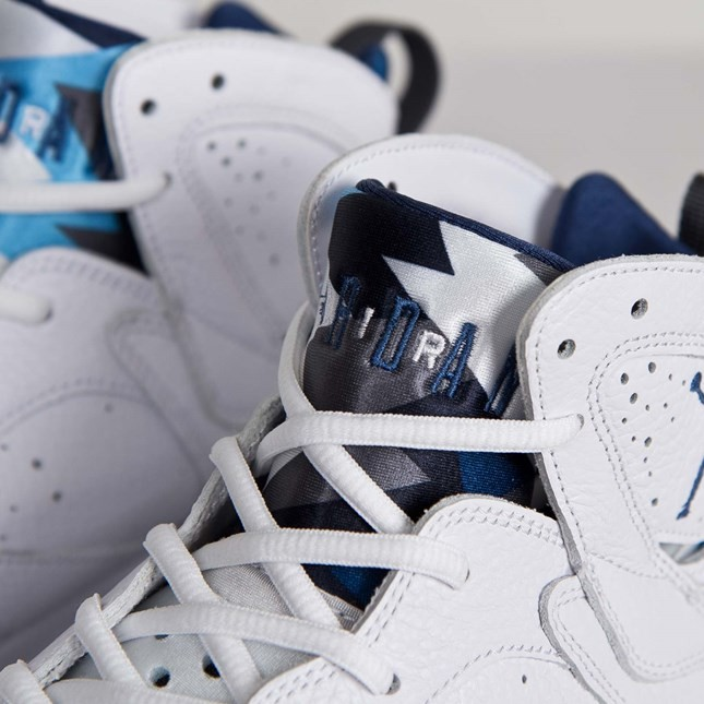 Air Jordan 7(VII) Retro White French Blue University Blue Flint Grey 304775-107 Mens Basketball Shoes