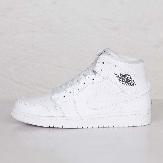 super popular 5c218 e2f9b Air Jordan 1(I) Mid White Cool Grey White 554724-102 Mens Shoes