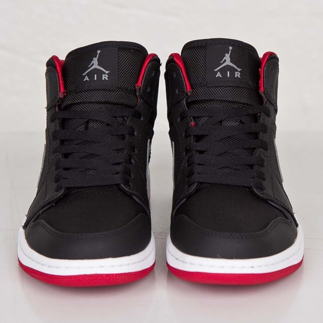 Air Jordan 1(I) Mid Black Cool Grey Gym Red 554724-004 Mens Shoes/Sneakers