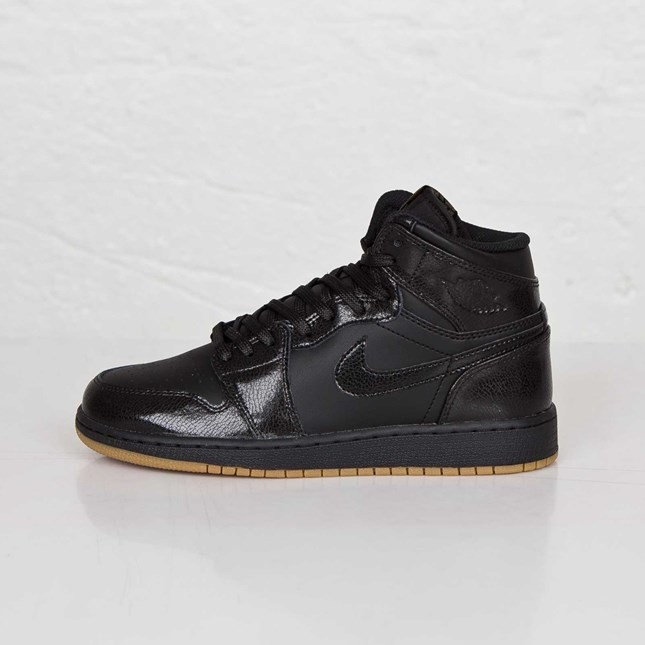 Air Jordan 1(I) Retro High OG - GS - Black Black Gum Light Brown Shoes 575441-020