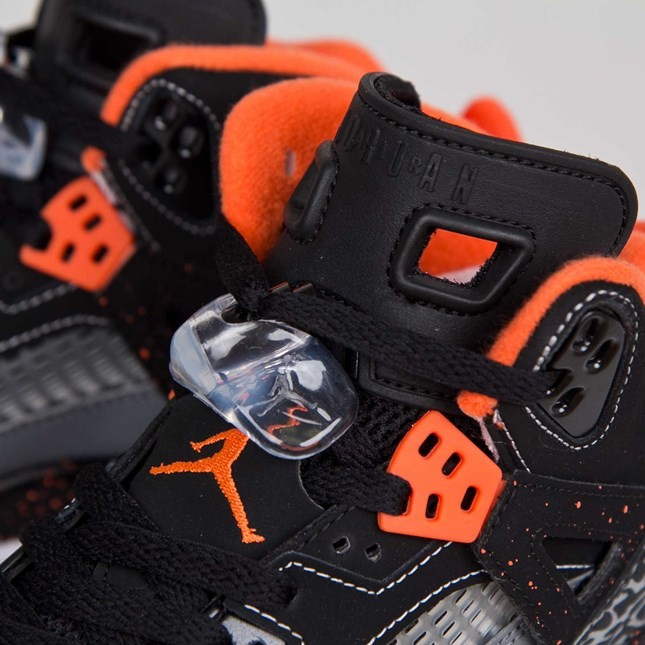Jordan Spizike - GS - Black Electric Orange Cool Grey Wolf Grey Basketball Shoes 317321-080