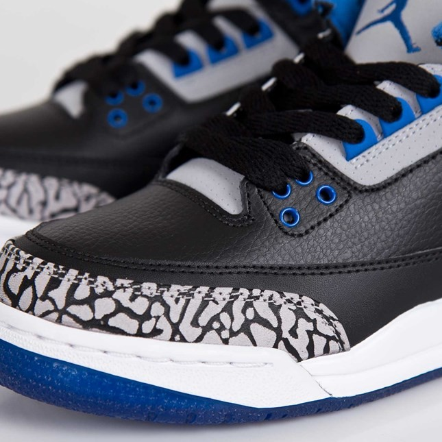 Air Jordan 3(III) Retro - GS - Black Sport Blue Wolf Grey Basketball Shoes 398614-007