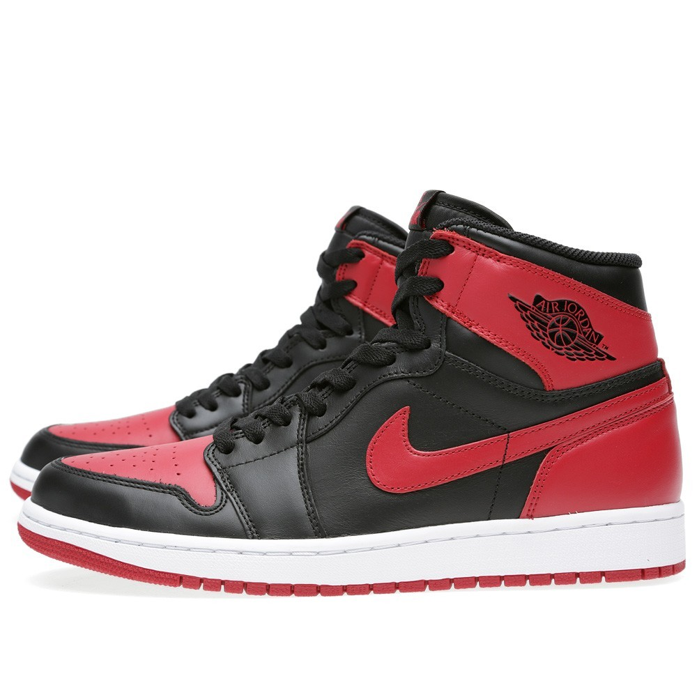 Air Jordan 1(I) Retro High OG Bred Black and Varsity Red 555088-023 Mens Shoes/Sneakers