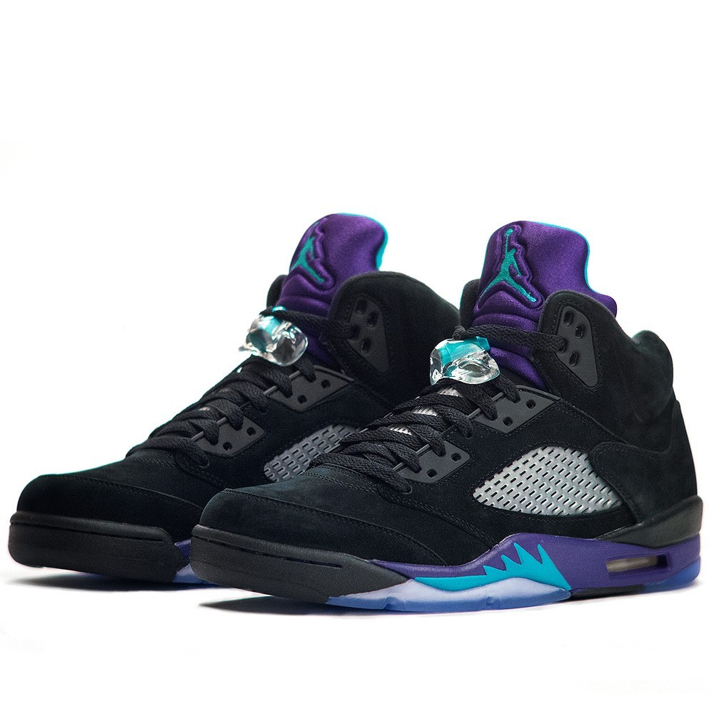 Air Jordan 5(V) Retro 'Black Grape' Black New Emerald Grape Ice Black 136027-007 Mens Basketball Shoes