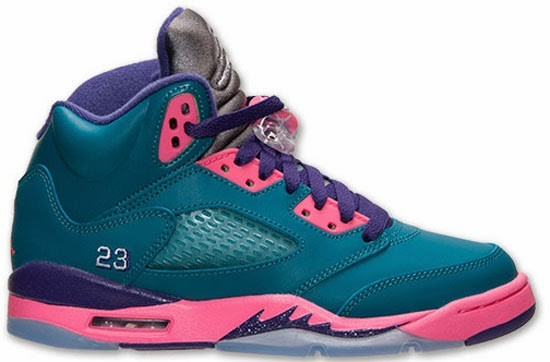 huge selection of bef89 62432 Air Jordan 5(V) Retro GS Girl s Tropical Teal White Digital Pink Court  Purple
