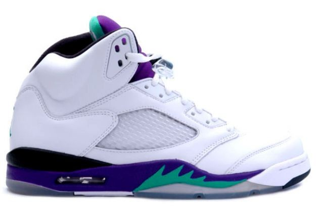 Air Jordan 5(V) Retro LS – Grapes 'White Grape' White New Emerald Grape Ice 136027-108 Mens Basketball Shoes