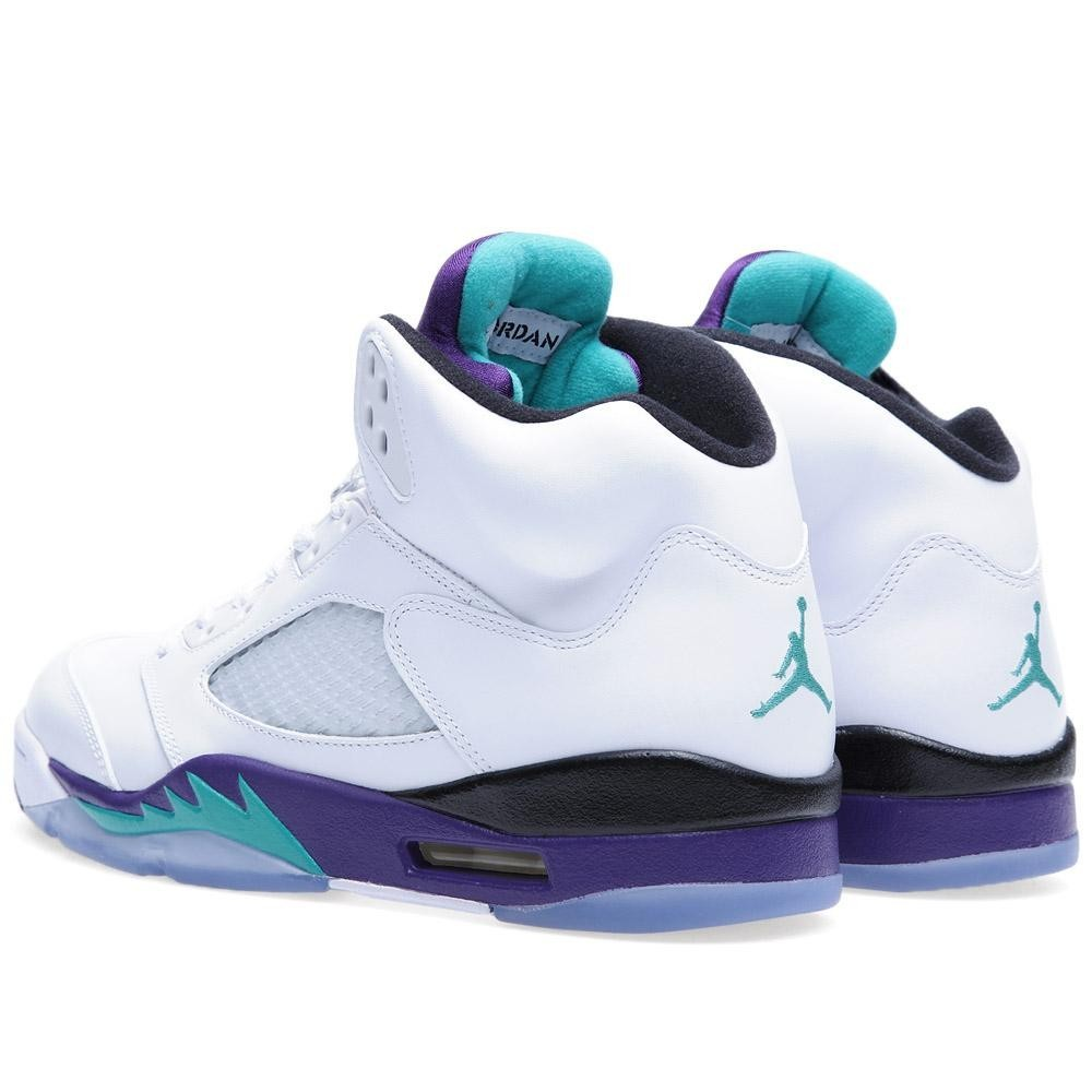 WMNS Air Jordan 5(V) Retro LS – Grapes 'White Grape' White New Emerald Grape Ice 136027-108 Womens Basketball Shoes