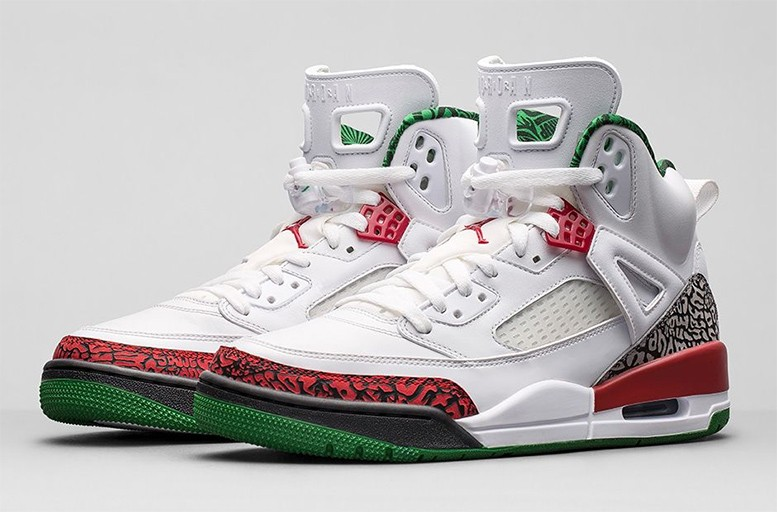 Jordan Spizike OG White Cement Grey Classic Green Varsity Red 315371-125 Mens Basketball Shoes