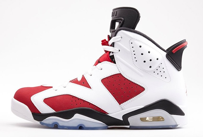 Air Jordan 6(VI) Retro Carmine White Carmine Black 384664-160 Mens Basketball Shoes