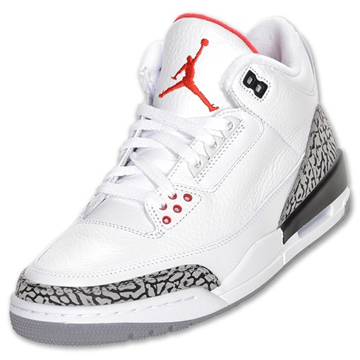 Air Jordan Retro 3(III) White Fire Red Cement Grey Black 136064 105 Mens Basketball Shoes