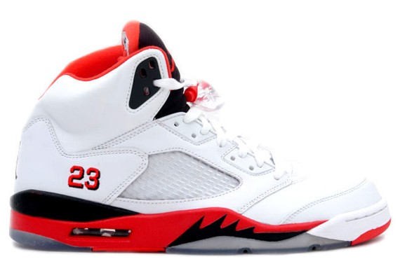 "WMNS Air Jordan Retro 5(V) ""Fire Red - Black Tongue"" White Fire Red Black 136027-120 Womens Basketball Shoes"