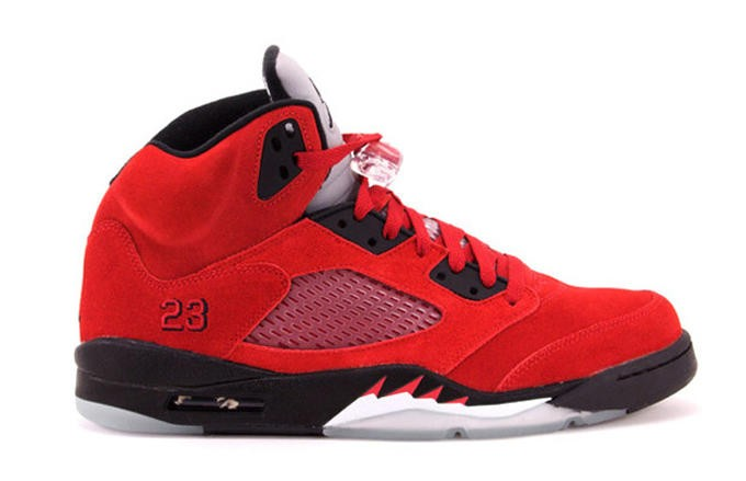 "WMNS Air Jordan 5(V) Retro ""Raging Bull"" Red Suede 2015 Varsity Red Black Womens Basketball Shoes"