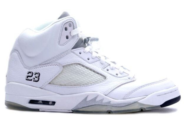 Air Jordan 5(V) Retro White Metallic Silver Black 136027-130 Mens Basketball Shoes
