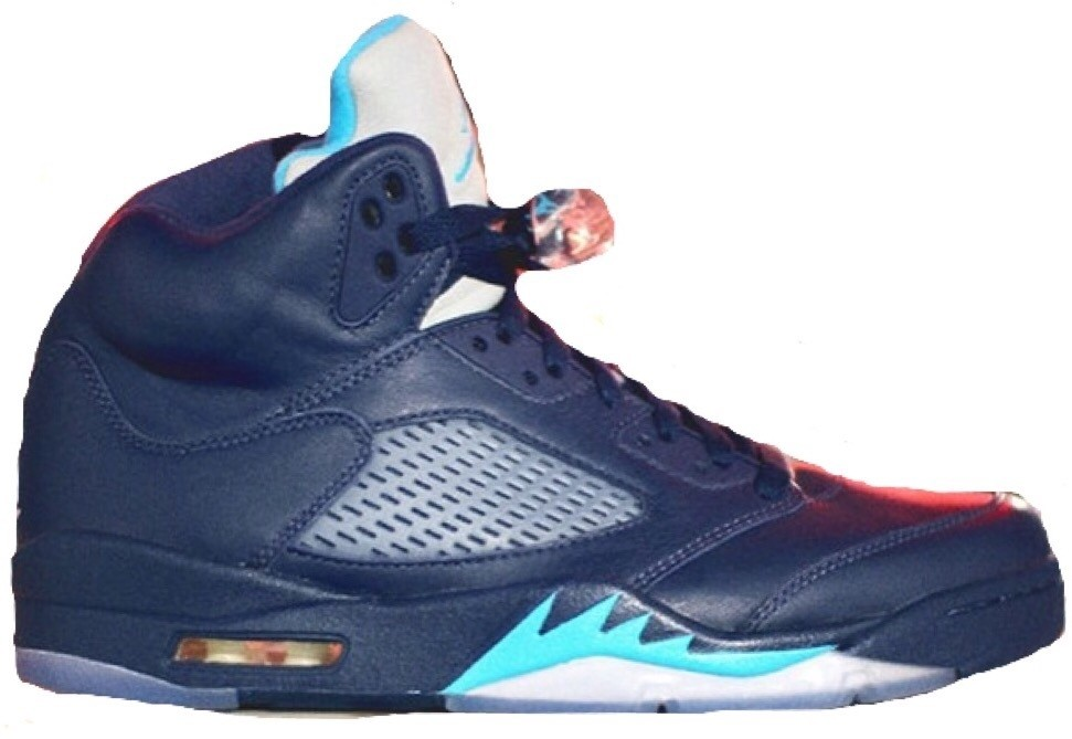 "Air Jordan 5(V) Retro ""Hornets"" 2015 Restock Midnight Navy Turquoise Blue White 136027-405 Mens Basketball Shoes"