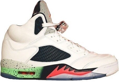 Air Jordan 5(V) Retro (2015 Restock) White Infrared 23 Light Poison Green Black 136027-115 Mens Basketball Shoes