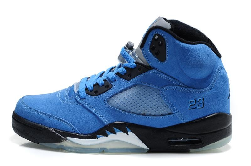 Air Jordan 5(V) Retro Blue Black White Mens Basketball Shoes