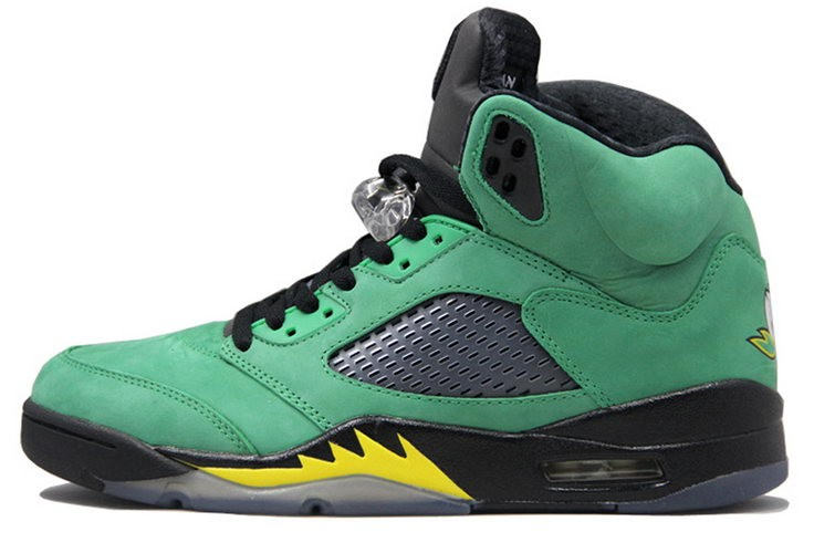 Air Jordan 5(V) Retro Oregon Ducks Bright Green Black Yellow Mens Basketball Shoes