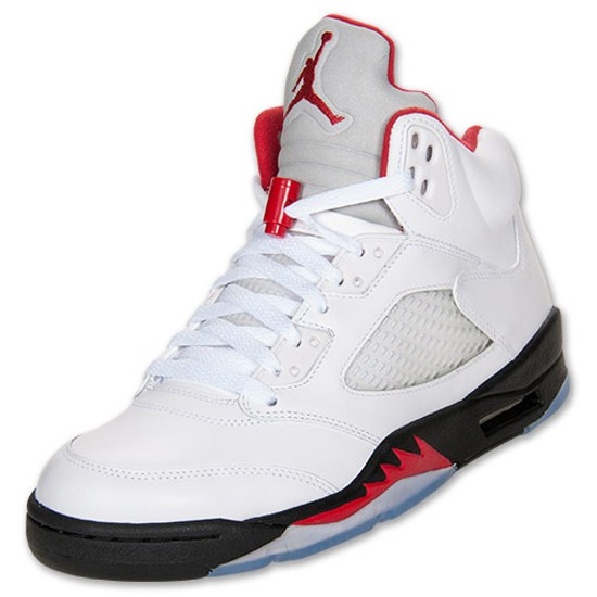 Air Jordan 5(V) Retro Fire Red-Black OG White Fire Red Black Mens Basketball Shoes