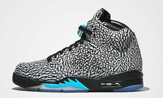 "WMNS Air Jordan 3LAB5 ""Elephant Print"" Cement Grey Gamma Blue Black 599581-007 Womens Basketball Shoes"