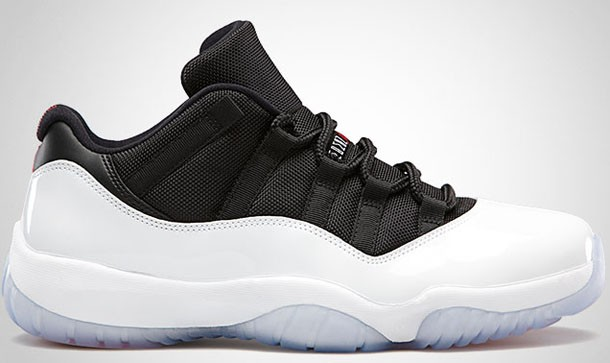 Air Jordan 11(XI) Retro Low Tuxedo White Black True Red 528895-110 Mens Basketball Shoes