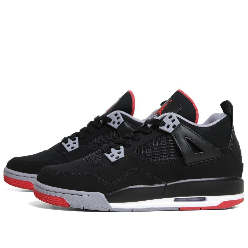 Air Jordan 4(IV) Retro Bred - GS - Black Fire Red Cement Grey Basketball Shoes 308497 089