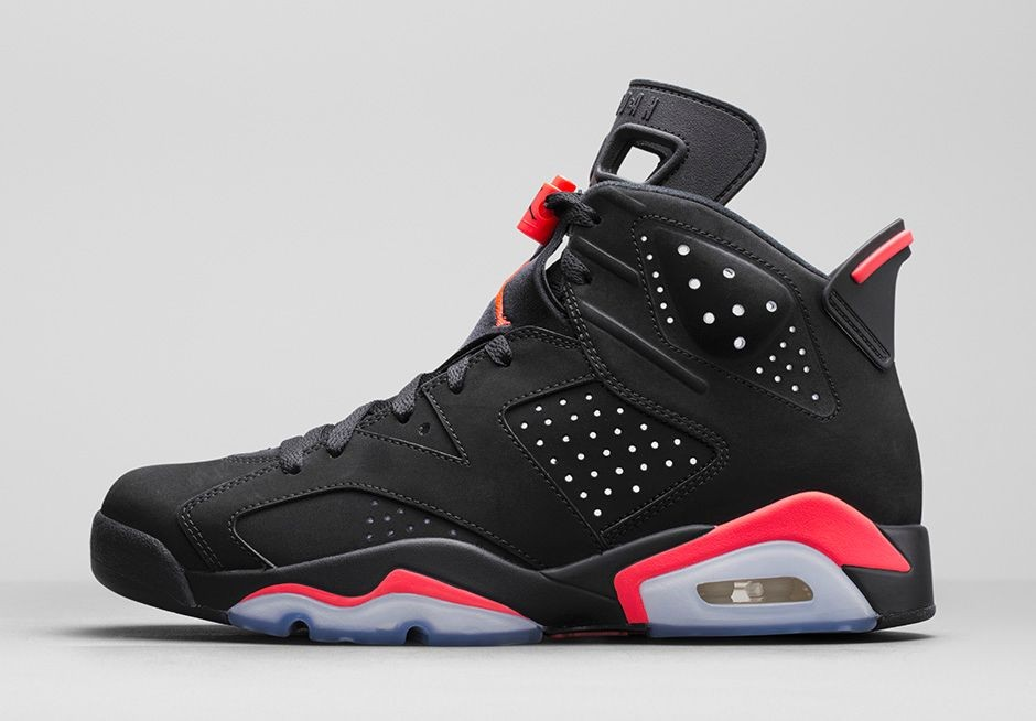 Air Jordan 6(VI) Retro 'Black/Infrared23' Black Infrared 23 Black 384664-023 Mens Basketball Shoes