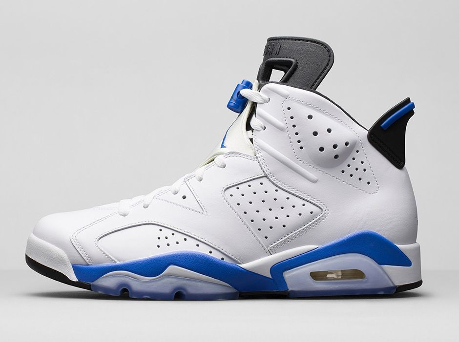 Air Jordan 6(VI) Retro 'Sport Blue' White Sport Blue Black 384664-107 Mens Basketball Shoes