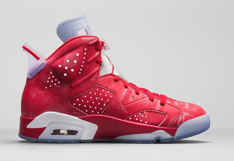 Air Jordan 6(VI) Retro Slam Dunk Varsity Red Varsity Red White 717302-600 Mens Basketball Shoes