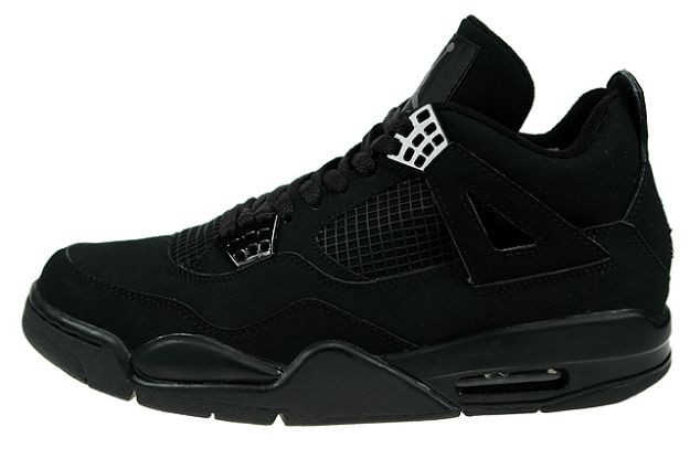 WMNS Air Jordan 4(IV) Retro Black Cat Black Black Light Graphite 308497-002 Womens Basketball Shoes
