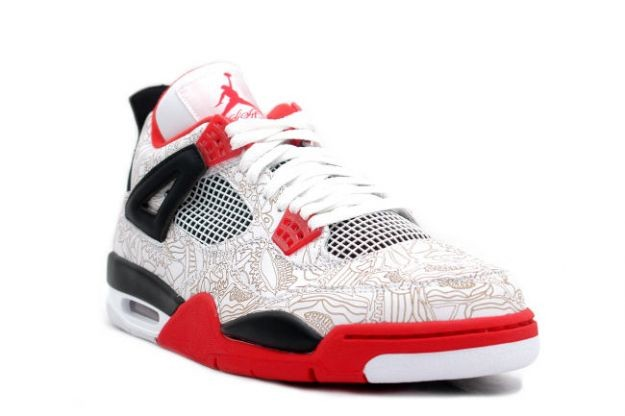 Air Jordan 4(IV) Retro Laser White Varsity Red Black 308497-161 Mens Basketball Shoes
