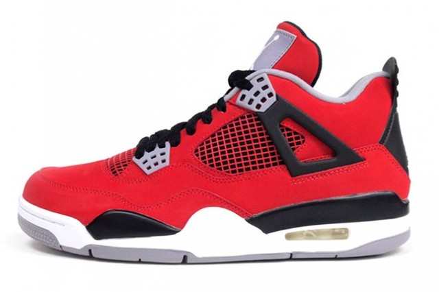 Air Jordan 4(IV) Toro Bravo Fire Red White Cement Grey Black 308497-603 Mens Basketball Shoes