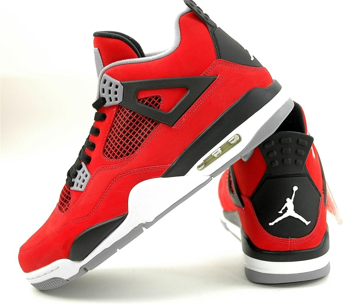 WMNS Air Jordan 4(IV) Toro Bravo Fire Red White Cement Grey Black Womens Basketball Shoes