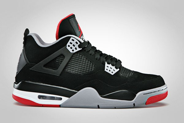 WMNS Air Jordan 4(IV) Retro Bred 2012 Black Cement Grey Fire Red 308497-089 Womens Basketball Shoes