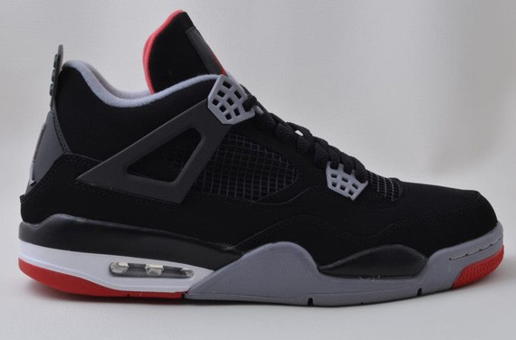 Air Jordan 4(IV) Retro Bred Black Cement Grey Fire Red 308497-089 Mens Basketball Shoes