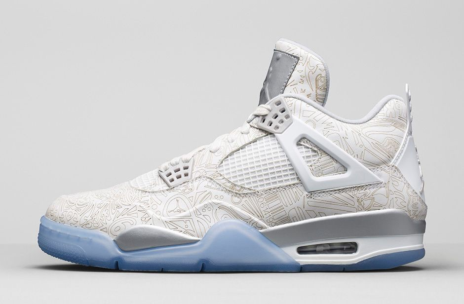 "WMNS Air Jordan 4(IV) ""Laser"" 2015 White Chrome Metallic Silver 705333-105 Womens Basketball Shoes"