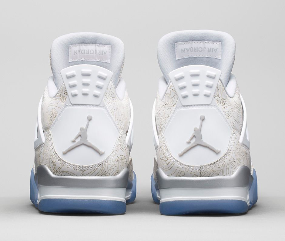 Air Jordan 4(IV) Laser (2015 Restock) White Chrome Metallic Silver 705333-105 Mens Basketball Shoes