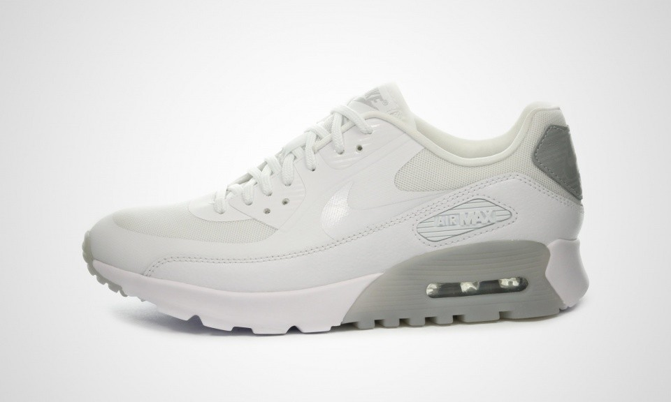 Womens Nike Air Max 90 Ultra Essential White/White-Wolf Grey-Metallic Silver 724981-100 Sneakers
