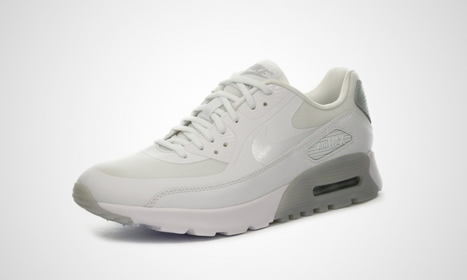 199826763ee ... Womens Nike Air Max 90 Ultra Essential White White-Wolf Grey-Metallic  Silver ...