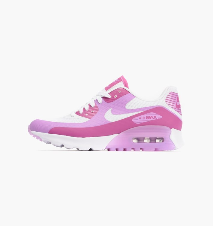 Womens Nike Air Max 90 Ultra BR (Breathe) White/Fuchsia Flash/Fuchsia Glow 725061-102 Shoe