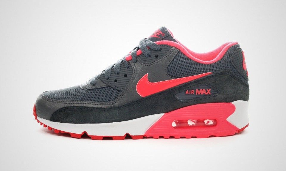 Womens Nike Air Max 90 Essential Dark Grey/Hyper Punch/Action Red/Anthracit