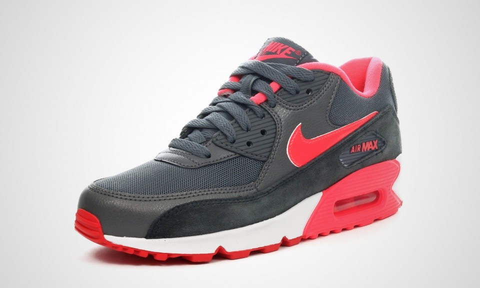 pretty nice cd759 ce3d7 ... Womens Nike Air Max 90 Essential Dark Grey Hyper Punch Action  Red Anthracit ...