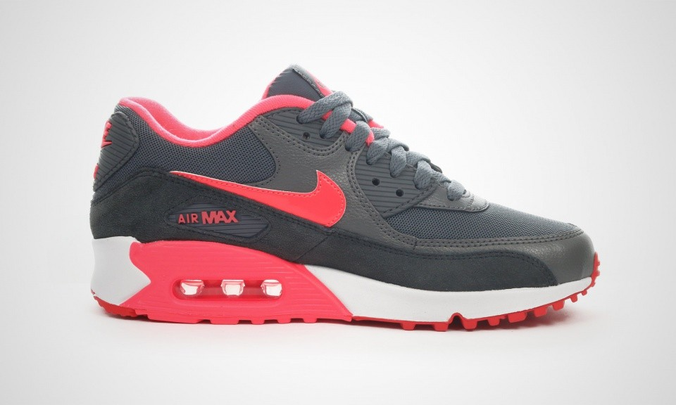 Womens Nike Air Max 90 Essential Dark Grey/Hyper Punch/Action Red/Anthracit 616730-009 Trainer